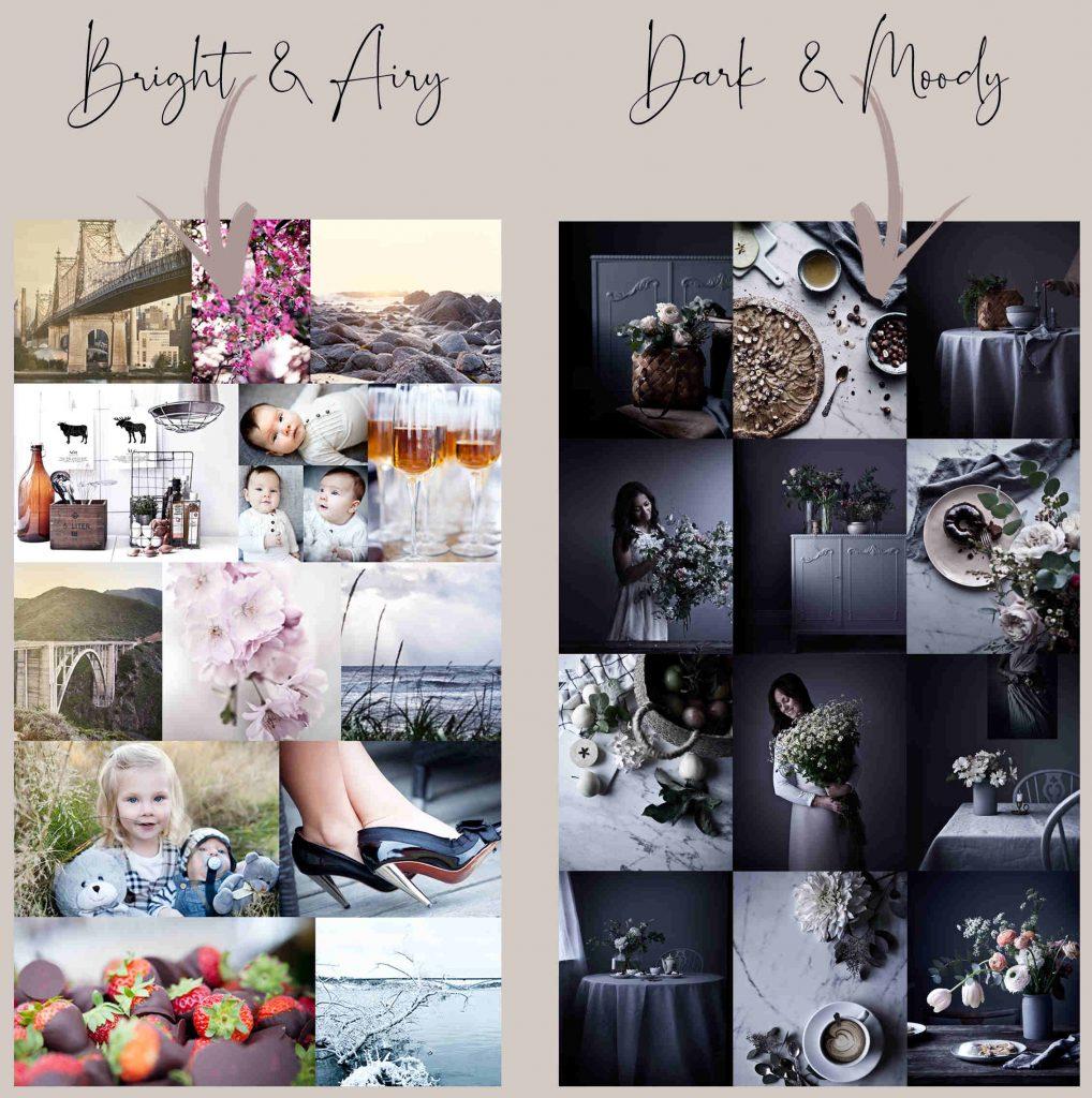 Bright and Airy vs Dark and Moody Photos
